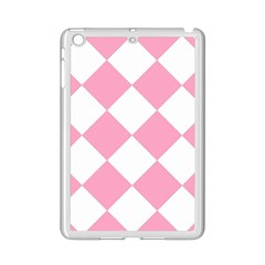 Harlequin Diamond Pattern Pink White Apple iPad Mini 2 Case (White)
