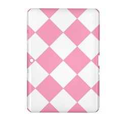 Harlequin Diamond Pattern Pink White Samsung Galaxy Tab 2 (10.1 ) P5100 Hardshell Case