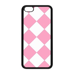 Harlequin Diamond Pattern Pink White Apple iPhone 5C Seamless Case (Black)