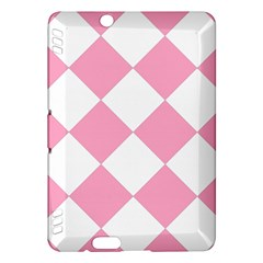 Harlequin Diamond Pattern Pink White Kindle Fire Hdx Hardshell Case