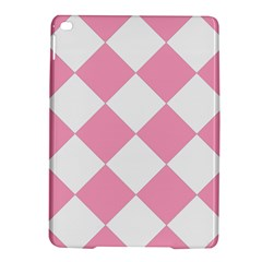 Harlequin Diamond Pattern Pink White Apple iPad Air 2 Hardshell Case