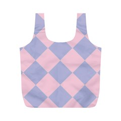 Harlequin Diamond Argyle Pastel Pink Blue Reusable Bag (M)