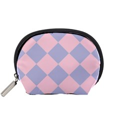 Harlequin Diamond Argyle Pastel Pink Blue Accessory Pouch (Small)