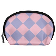 Harlequin Diamond Argyle Pastel Pink Blue Accessory Pouch (large)