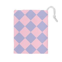 Harlequin Diamond Argyle Pastel Pink Blue Drawstring Pouch (Large)