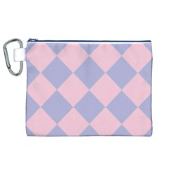 Harlequin Diamond Argyle Pastel Pink Blue Canvas Cosmetic Bag (xl)