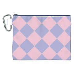 Harlequin Diamond Argyle Pastel Pink Blue Canvas Cosmetic Bag (XXL)