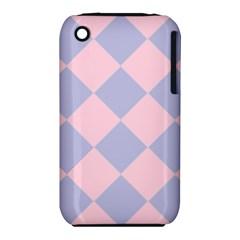 Harlequin Diamond Argyle Pastel Pink Blue Apple iPhone 3G/3GS Hardshell Case (PC+Silicone)