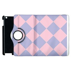 Harlequin Diamond Argyle Pastel Pink Blue Apple iPad 2 Flip 360 Case