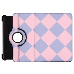 Harlequin Diamond Argyle Pastel Pink Blue Kindle Fire Hd Flip 360 Case