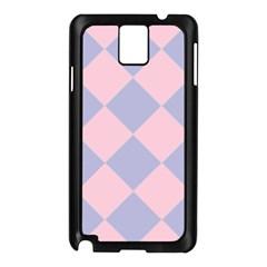 Harlequin Diamond Argyle Pastel Pink Blue Samsung Galaxy Note 3 N9005 Case (Black)