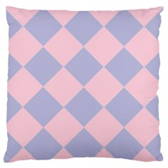 Harlequin Diamond Argyle Pastel Pink Blue Large Flano Cushion Case (Two Sides)