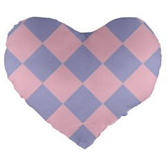 Harlequin Diamond Argyle Pastel Pink Blue 19  Premium Flano Heart Shape Cushion