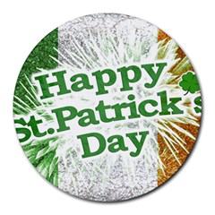 Happy St. Patricks Day Grunge Style Design 8  Mouse Pad (Round)