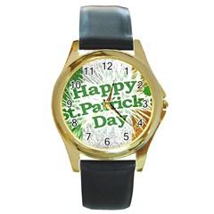 Happy St. Patricks Day Grunge Style Design Round Leather Watch (Gold Rim)
