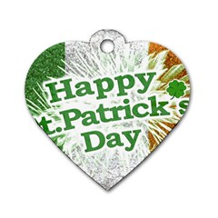 Happy St. Patricks Day Grunge Style Design Dog Tag Heart (Two Sided)