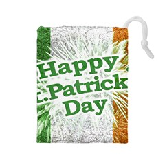 Happy St. Patricks Day Grunge Style Design Drawstring Pouch (Large)