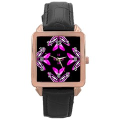 Abstract Pain Frustration Rose Gold Leather Watch