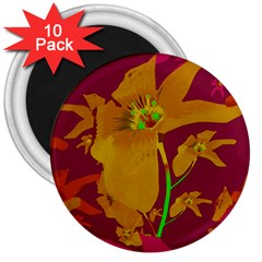 Tropical Hawaiian Style Lilies Collage 3  Button Magnet (10 Pack)