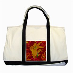 Tropical Hawaiian Style Lilies Collage Two Toned Tote Bag