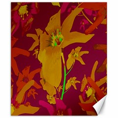Tropical Hawaiian Style Lilies Collage Canvas 20  X 24  (unframed)