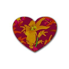 Tropical Hawaiian Style Lilies Collage Drink Coasters (heart)