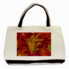 Tropical Hawaiian Style Lilies Collage Twin Sided Black Tote Bag