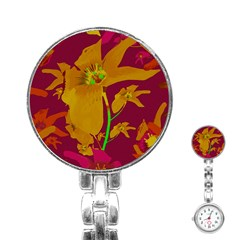 Tropical Hawaiian Style Lilies Collage Stainless Steel Nurses Watch