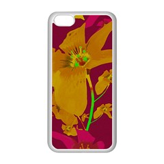 Tropical Hawaiian Style Lilies Collage Apple Iphone 5c Seamless Case (white)