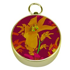 Tropical Hawaiian Style Lilies Collage Gold Compass