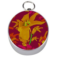 Tropical Hawaiian Style Lilies Collage Silver Compass