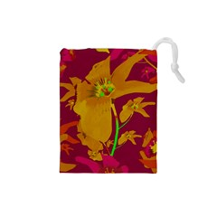 Tropical Hawaiian Style Lilies Collage Drawstring Pouch (small)