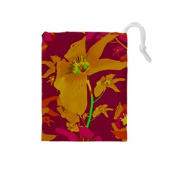 Tropical Hawaiian Style Lilies Collage Drawstring Pouch (Medium)