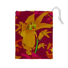 Tropical Hawaiian Style Lilies Collage Drawstring Pouch (Large)