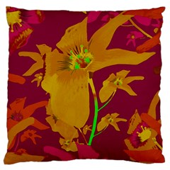 Tropical Hawaiian Style Lilies Collage Large Flano Cushion Case (Two Sides)