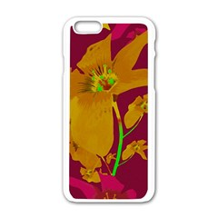 Tropical Hawaiian Style Lilies Collage Apple iPhone 6 White Enamel Case