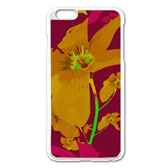 Tropical Hawaiian Style Lilies Collage Apple iPhone 6 Plus Enamel White Case