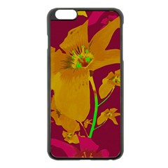 Tropical Hawaiian Style Lilies Collage Apple iPhone 6 Plus Black Enamel Case
