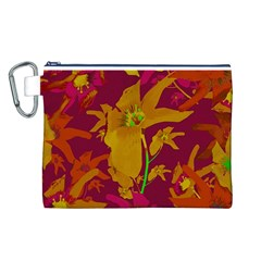 Tropical Hawaiian Style Lilies Collage Canvas Cosmetic Bag (large)