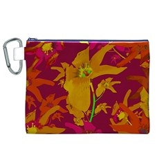 Tropical Hawaiian Style Lilies Collage Canvas Cosmetic Bag (XL)