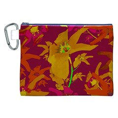 Tropical Hawaiian Style Lilies Collage Canvas Cosmetic Bag (XXL)