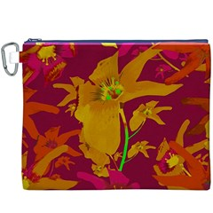 Tropical Hawaiian Style Lilies Collage Canvas Cosmetic Bag (XXXL)