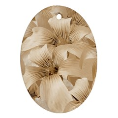 Elegant Floral Pattern In Light Beige Tones Oval Ornament