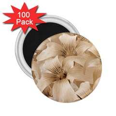 Elegant Floral Pattern in Light Beige Tones 2.25  Button Magnet (100 pack)