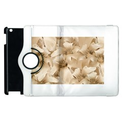 Elegant Floral Pattern In Light Beige Tones Apple Ipad 2 Flip 360 Case