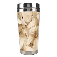 Elegant Floral Pattern In Light Beige Tones Stainless Steel Travel Tumbler