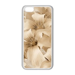 Elegant Floral Pattern in Light Beige Tones Apple iPhone 5C Seamless Case (White)