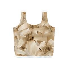Elegant Floral Pattern in Light Beige Tones Reusable Bag (S)