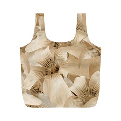 Elegant Floral Pattern in Light Beige Tones Reusable Bag (M)