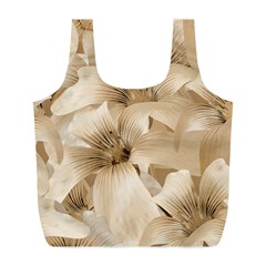 Elegant Floral Pattern in Light Beige Tones Reusable Bag (L)
